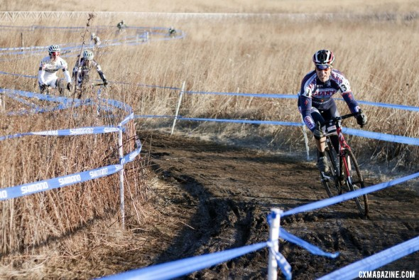 Jon Mondelius leads James Coats and Tim Butler in the chase for third place. ©Cyclocross Magazine