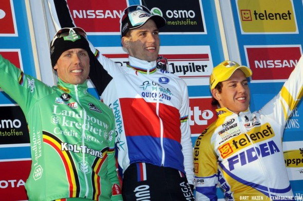 The mens podium at Middelkerke. Bart Hazen