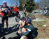 Riders take a snack break mid-140 mile ride. Cyclocross Magazine