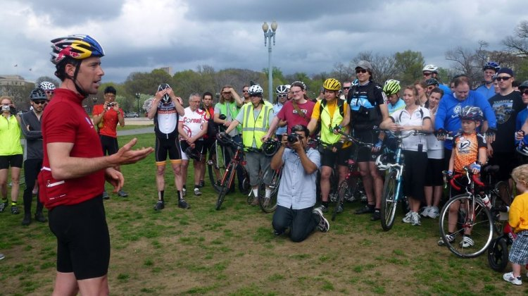 Tim Johnson addresses the crowd at the end of the Ride on Washington. Cyclocross Magazine