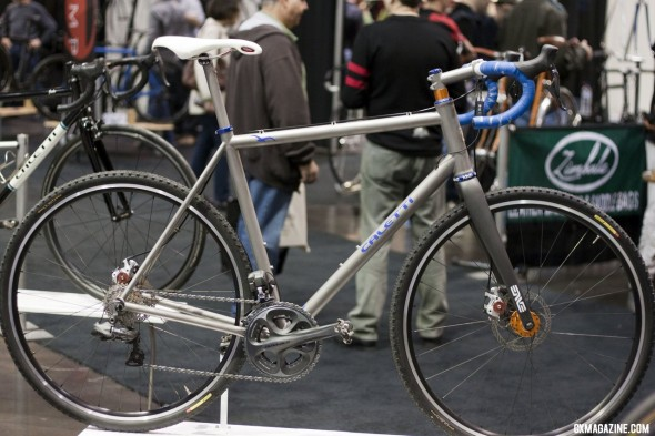 "Caletti displayed two cyclocross bikes, one ""standard"" steel and one disc and Di2-equipped titanium piece at NAHBS 2012. ©Cyclocross Magazine"