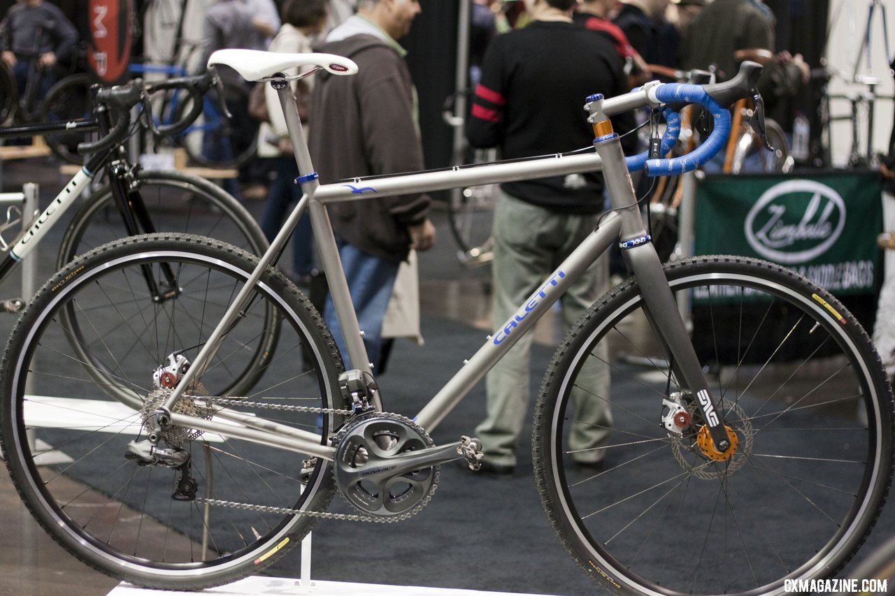 caletti displayed two cyclocross bikes one standard steel and one disc and di2