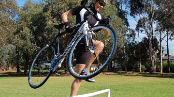 Testing out barrier hopping skills at the Dirty Deeds clinic. Andrew Blake