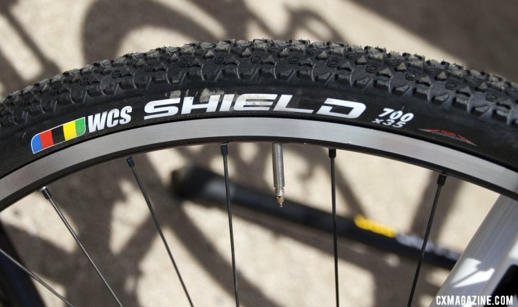 The new Ritchey WCS Shield 700x35 tire has lots of short knobs for fast-rolling performance on hardpack conditions. © Cyclocross Magazine