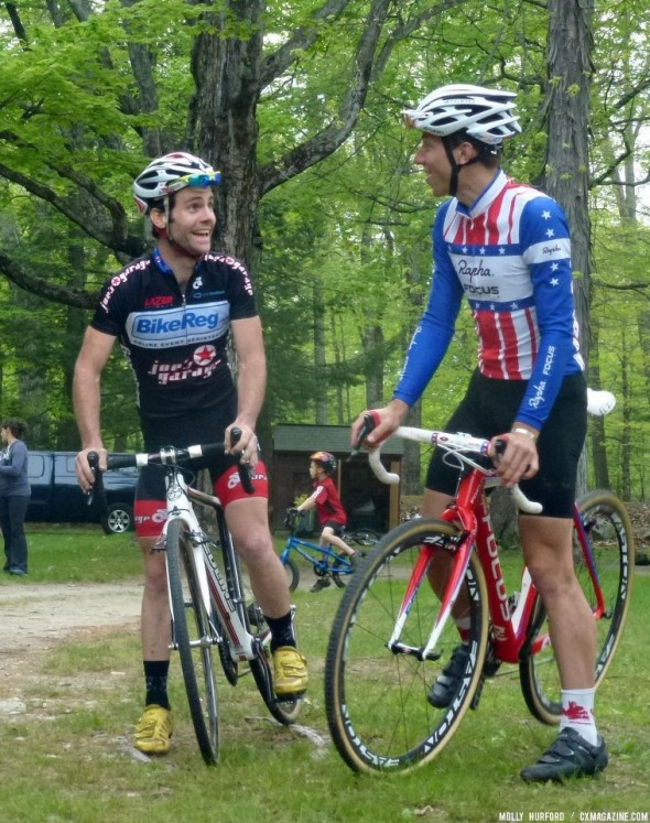 Justin Lindine at Kiddie Cross with Jeremy Powers. Cyclocross Magazine