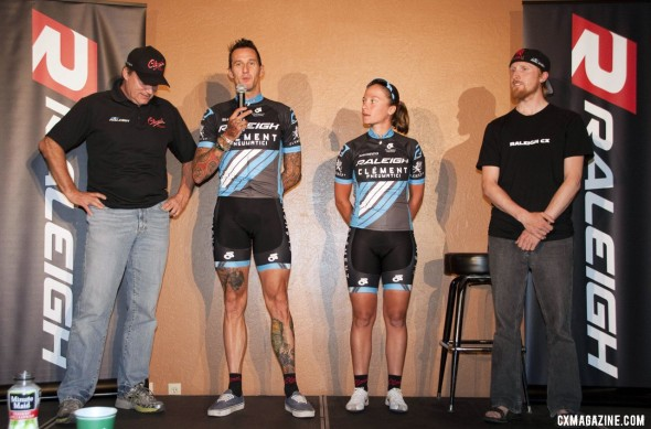 Room for two more: Kellogg presents Berden, Mani and Etheridge of team Raleigh/Clement, but will give out two more spots at tonight's Misummer race.  © Cyclocross Magazine
