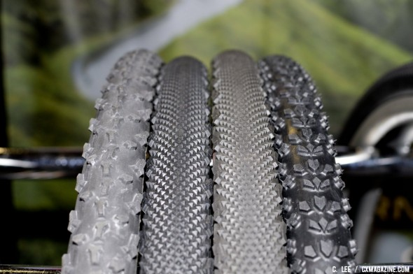 Clement's three main cyclocross tread options: The PDX, LAS, and MPX tires. ©Cyclocross Magazine