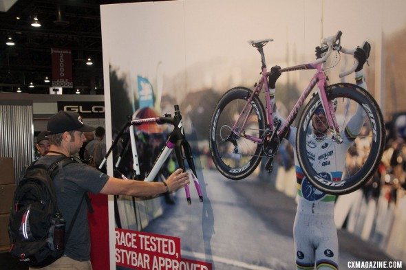 The Specialized S-Works Crux and life-sized Stybar poster captured plenty of attention at Interbike 2012. ©Cyclocross Magazine