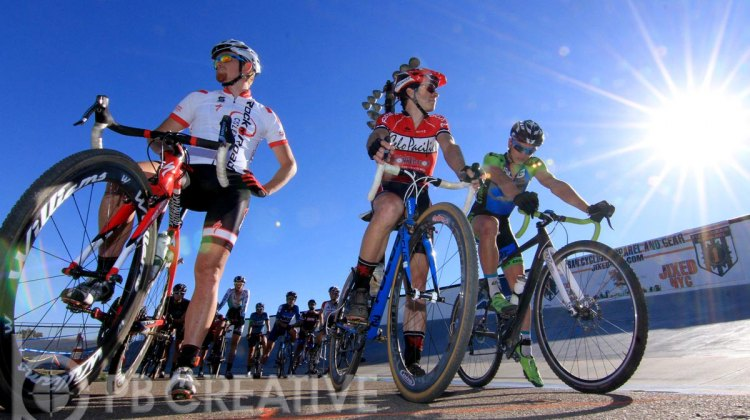 The Men's A contenders on Saturday. Kyle Gritters (Rock N Road), at left, suffered mechanicals both days. © Phil Beckman