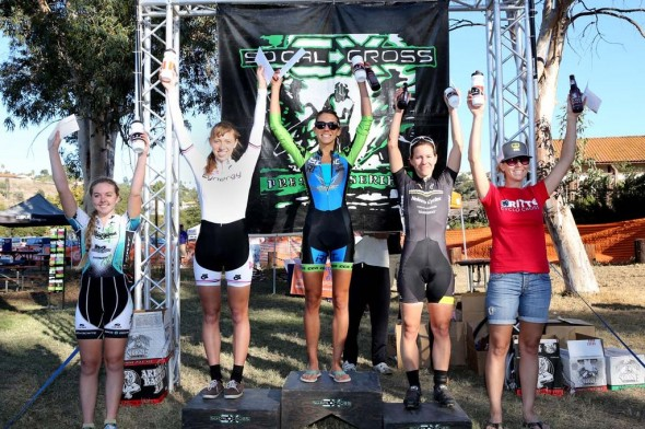 The Women's A podium at SPYclocross, from left to right: Maddie Melcher (The TEAM SoCalCross, 5th), Hannah Rae Finchamp (Cynergy, 2nd), Carolin Schiff (Felt/SDG/IRT/SPY, 1st), Emily Georgeson (Helen's/Cannondale, 3rd) and Amanda Schaper (Ritte CX Team, 4th). © Phil Beckman/PB Creative