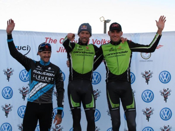 Berden, Johnson and Trebon on the podium for Day 2 of Jingle Cross. © Elisabeth Reinkordt