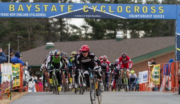 The Elite Men sprint off the line at Baystate Cyclocross 2012.