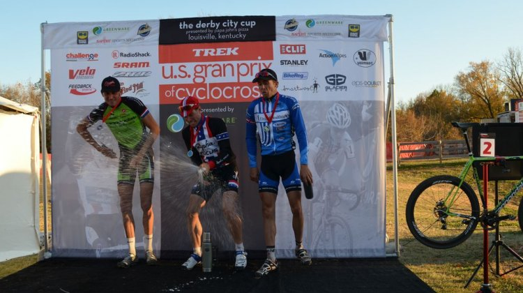 Powers celebrates a win at Day 1 of USGP Derby City Cup, along with Trebon and Summerhill. © Cyclocross Magazine