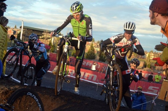 Kabush and Trebon dab while cresting this climb at the USGP Deschutes Brewery Day 2. ©Cyclocross Magazine