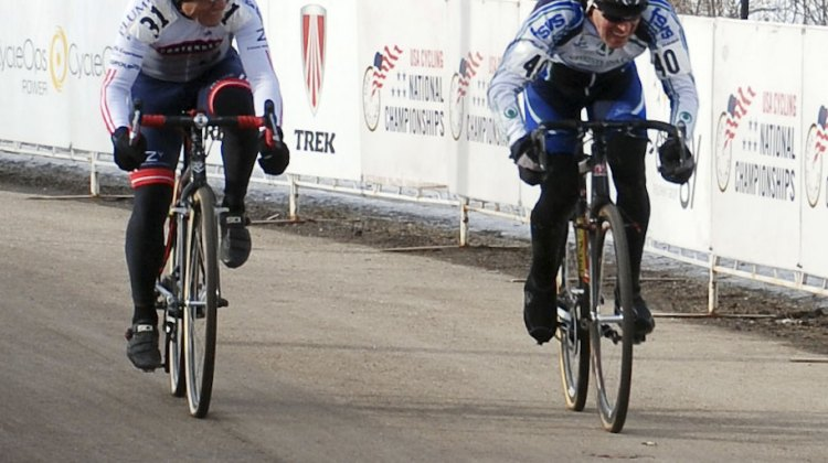 Leone Pizzini (First State Velo Sport) pips Lewis Rollins (Contender Bicycles) for the win in the Masters 65-69 category. © Cyclocross Magazine