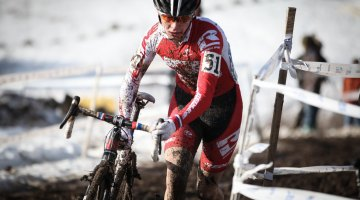 Redline's Logen Owen raced to a commanding win in his prep for Worlds. Junior Men 17-18, 2013 Cyclocross National Championship. © Meg McMahon