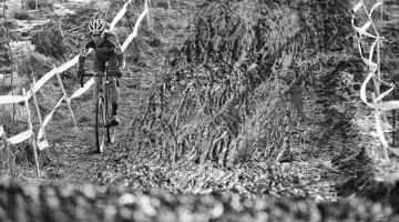 Pete Webber off to an early lead in the Masters Men 40-44 race. 2013 Cyclocross Nationals. © Meg McMahon