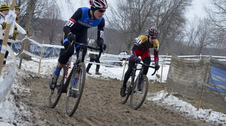Johnson and Werner in a tight battle for the Collegiate D1 Men title. 2013 Cyclocross National Championships. © Cyclocross Magazine