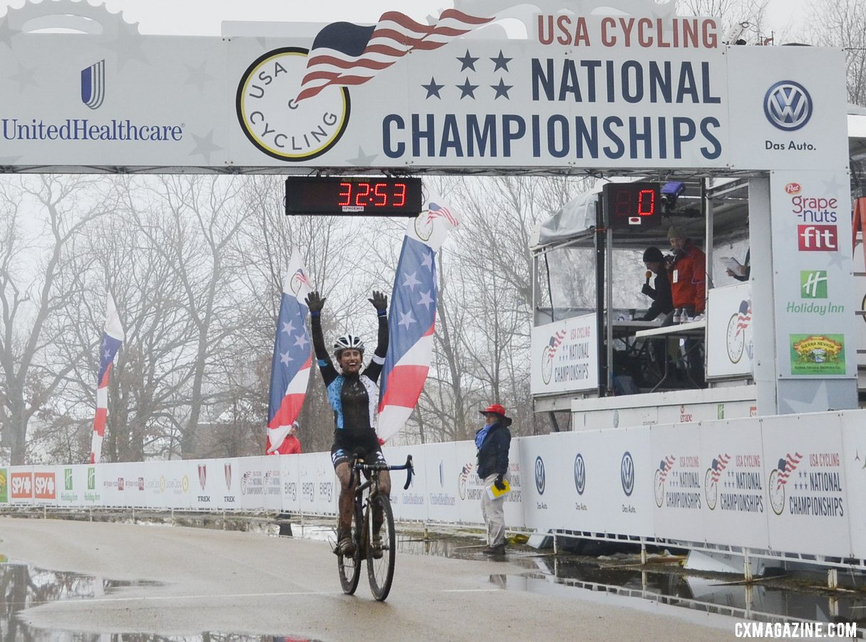 Ellen Noble (Trek Cyclocross Collective) takes a big win in the Junior Women 17-18 group. © Cyclocross Magazine