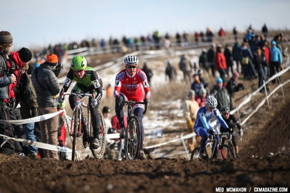 In just half a lap, Meredith Miller (Cal Giant) and Kaitlin Antonneau (Cannondale p/b/ CyclocrossWorld) were left chasing second place. © Meg McMahon