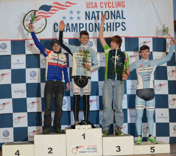 The men's 10-29 non-championship podium. © Cyclocross Magazine