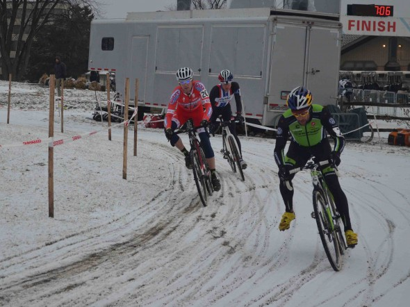 Johnson drifts around the corner ahead of Eckmann and Powers. © Cyclocross Magazine
