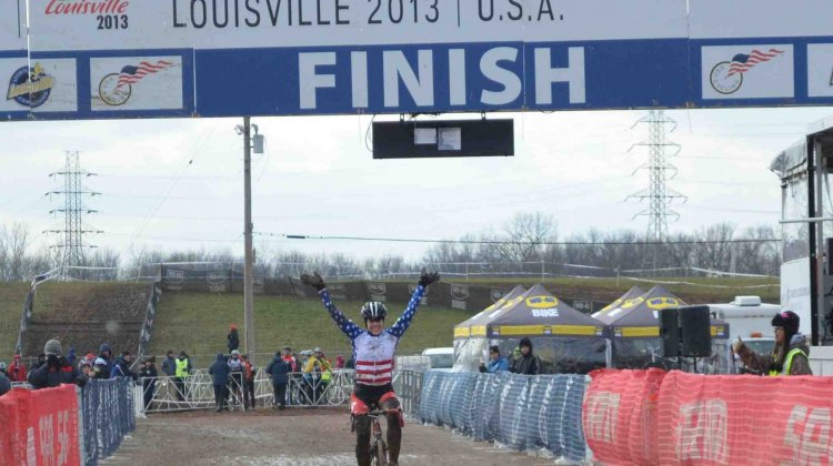 Kari Studley sails across another finish line in first. © Cyclocross Magazine
