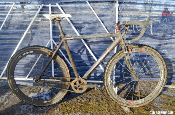 Kari Studley's 2013 National Championship-winning Redline Conquest Pro SS singlespeed cyclocross bike. © Cyclocross Magazine