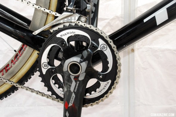Compton has run WickWerks rings for many years, but is one of the very few SRAM riders to run the real 2012 SRAM Red compact crank and YAW front derailleur instead of the rebadged S900 crank and 2011 front derailleur. © Cyclocross Magazine