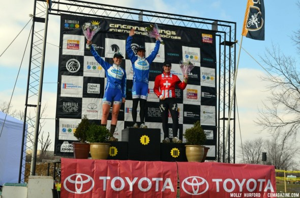 Georgia Gould, Katerina Nash, Jasmin Achermann (L to R) on the women's podium. © Cyclocross Magazine
