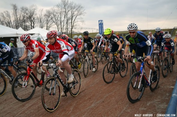 The second heat of the day started fast and furious. © Cyclocross Magazine