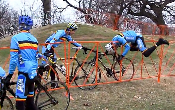Sven Nys' biggest challenge in Louisvile so far? Escaping his bandit pre-ride on the Louisville course.