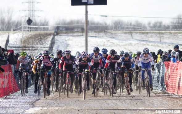 The 45-49 Men launching off the line for the 2013 World Title race © Cyclocross Magazine