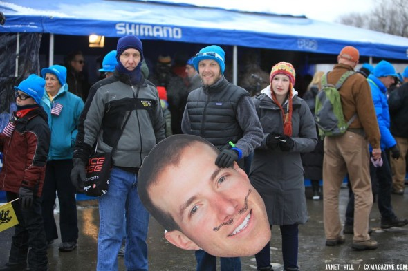 Jeremy Powers' fans at the Elite World Championships of Cyclocross. © Janet Hill