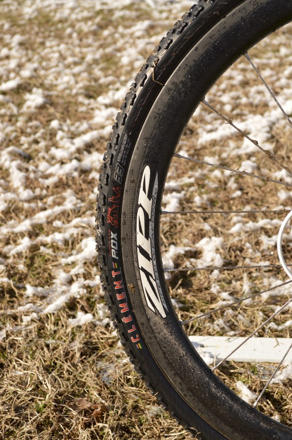 Zipp 303 carbon rims - but without the worries of carbon braking surfaces on Ryan Trebon's Cannondale SuperX High Mod Disc. © Clifford Lee