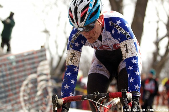Katie Compton overcame a difficult first lap to claw up to second place © Cathy Fegan-Kim