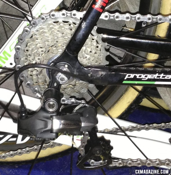 Sven Nys' 11-28 cassette with custon 28t cog and Ultegra lockring was one of the few non-stock Dura-Ace component choices. © Cyclocross Magazine
