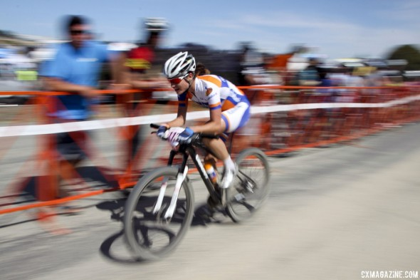 Marianne Vos in full time trial mode after her blistering attack with two to go. © Cyclocross Magazine