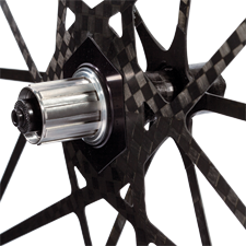 Mad Fiber uses carbon spokes, hubs and rims to create an ultralight wheelset.