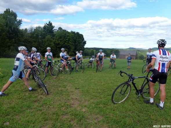 Here, Jeremy Powers conducts a clinic for his local riding group, the NCC. © Cyclocross Magazine