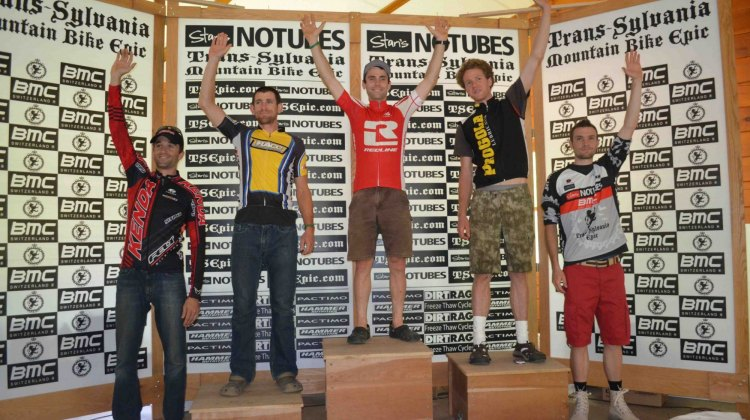 Cyclocrosser Justin Lindine tops the podium, while Brian Matter takes third at the Trans-Sylvania Epic stage race. © Cyclocross Magazine