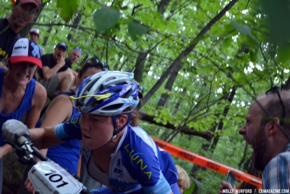 Gould gets heckled hard as she makes her way up to sixth place. © Cyclocross Magazine