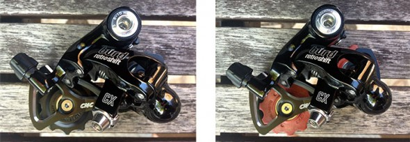 Two pulley options on the new Retroshift BURD cyclocross rear derailleur. photo: courtesy