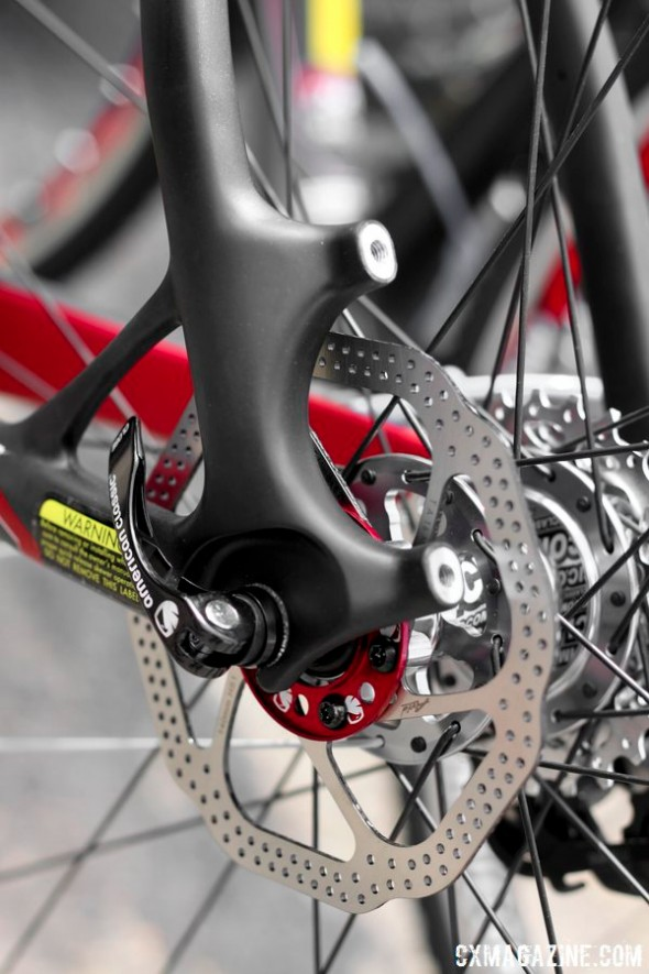 Ready for disc brakes, but the brakes weren't quite ready for Dealer Camp.  © Cyclocross Magazine