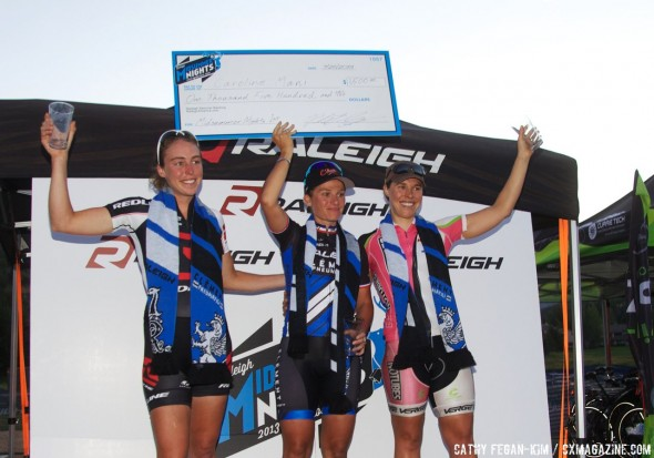Podium, L to R: Erika Zaveta, Caroline Mani, Amanda Carey at Raleigh Midsummer Nights Cross. © Cyclocross Magazine