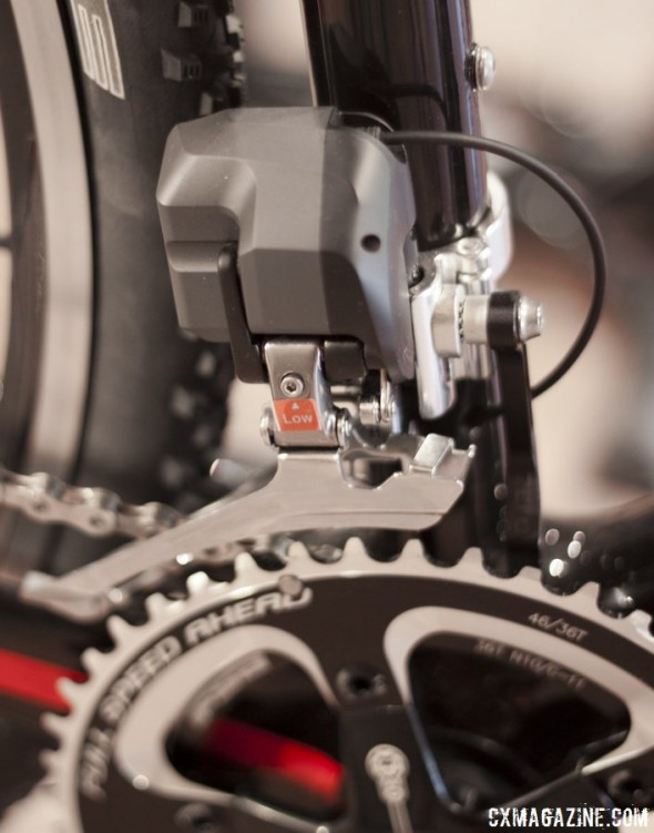 Don't be afraid to charge up a steephill in the big ring. The Shimano Ultegra Di2 FD-6770 front derailleur will keep your chain on the rings even under load. © Cyclocross Magazine