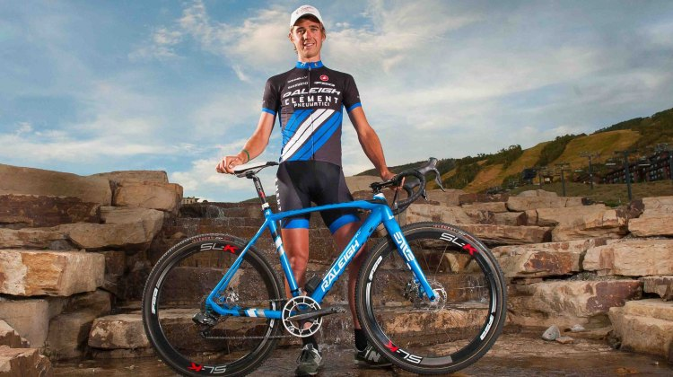 Driscoll shows off his new team kit. Photo courtesy of Raleigh-Clement