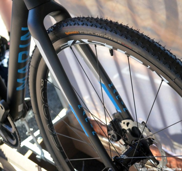 Continental tires on Easton Wheels with a fork that allows plenty of room for mud. © Cyclocross Magazine