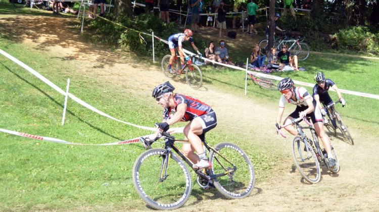 Van Gilder leads the race on Day 2 at Nittany. © Cyclocross Magazine