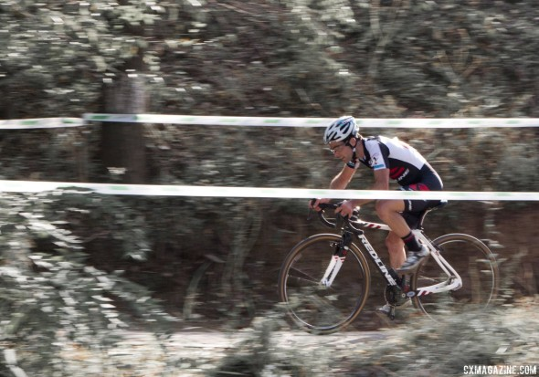 Justin Lindine raced to a strong third place in the men's race at the Qiansen Trophy UCI C2 Cyclocross Event. © Cyclocross Magazine